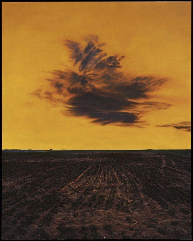 Campo roturado y nube (aureoline). 2014, 162x130 cm.